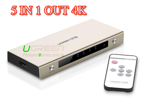 Bộ Gộp HDMI 5 IN 1 OUT Ugreen 20680 Hỗ Trợ 3D, 4K Cao Cấp