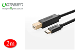 Cáp máy in 2M USB-C to USB Type B UGREEN 30181