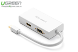 Cáp Mini Displayport To HDMI, VGA,  DVI 4K 2K Ugreen 20417 ( Trắng )