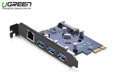 Card PCI Express to 3 USB 3.0 + Lan tốc độ 1000Mbps Ugreen 30775